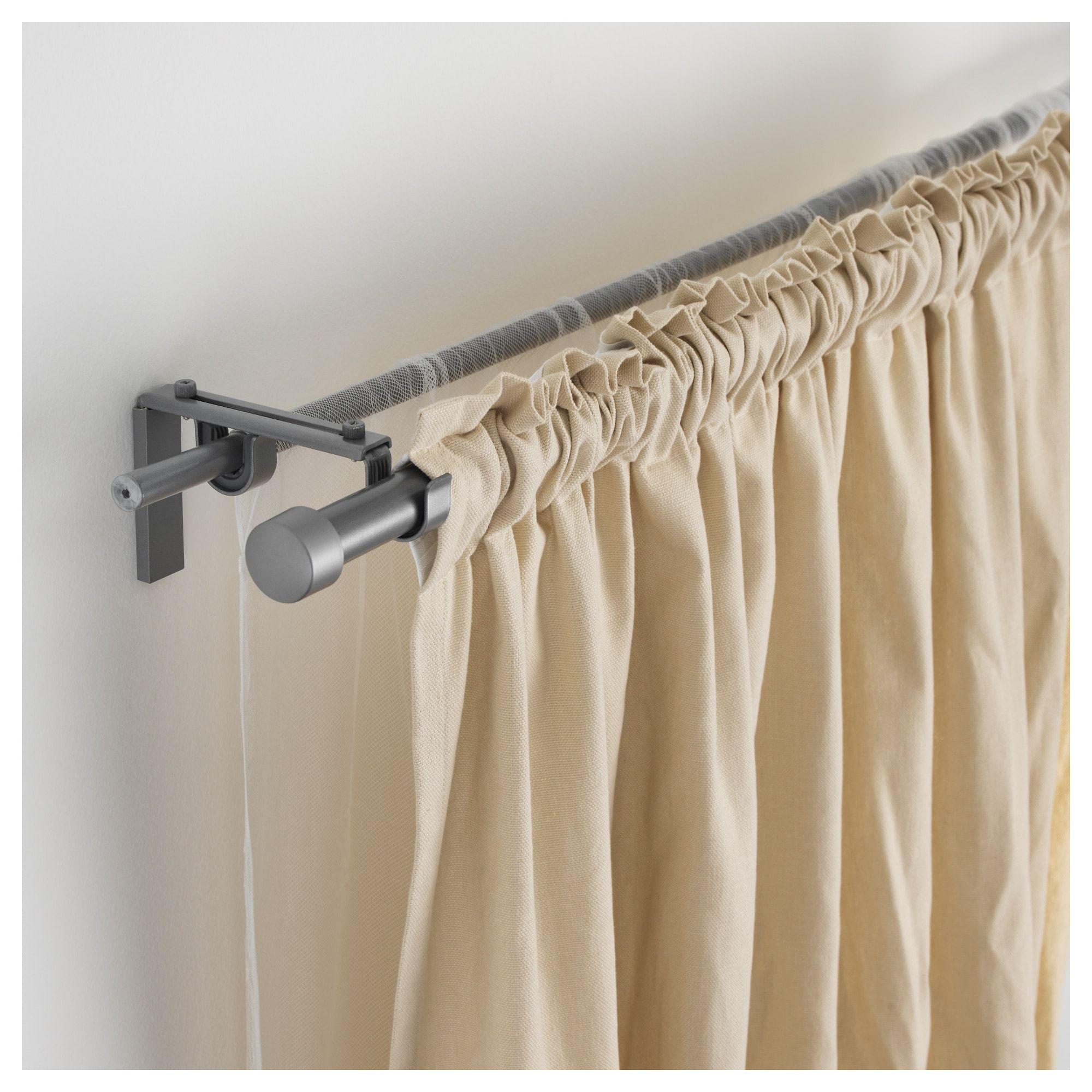 Ikea Racka Hugad Silver Color Double Curtain Rod Combination