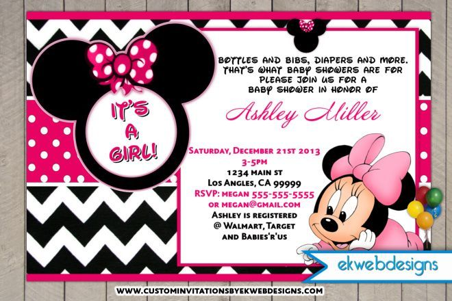 Minnie Mouse Baby Shower Invitations Its A Gril Baby Shower - Free disney baby shower invitation templates