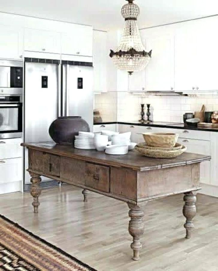 Modern White Kitchen With Antique Rustic Wood Island French Country