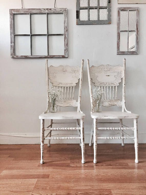 Vintage Farmhouse Off White Wood Rustic Dining Chairs Set 2