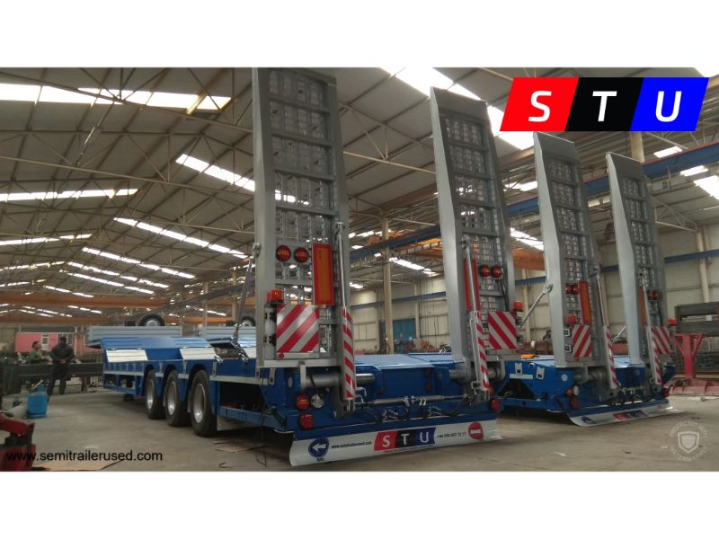 3 Axle Lowbeds Lowboy Stu Trailer Stu Is Supplier Of Used Lowbed Semi Trailers Which Has 2 3 4 5 6 7 8 Axles Models In Turkey Total Length 14 340