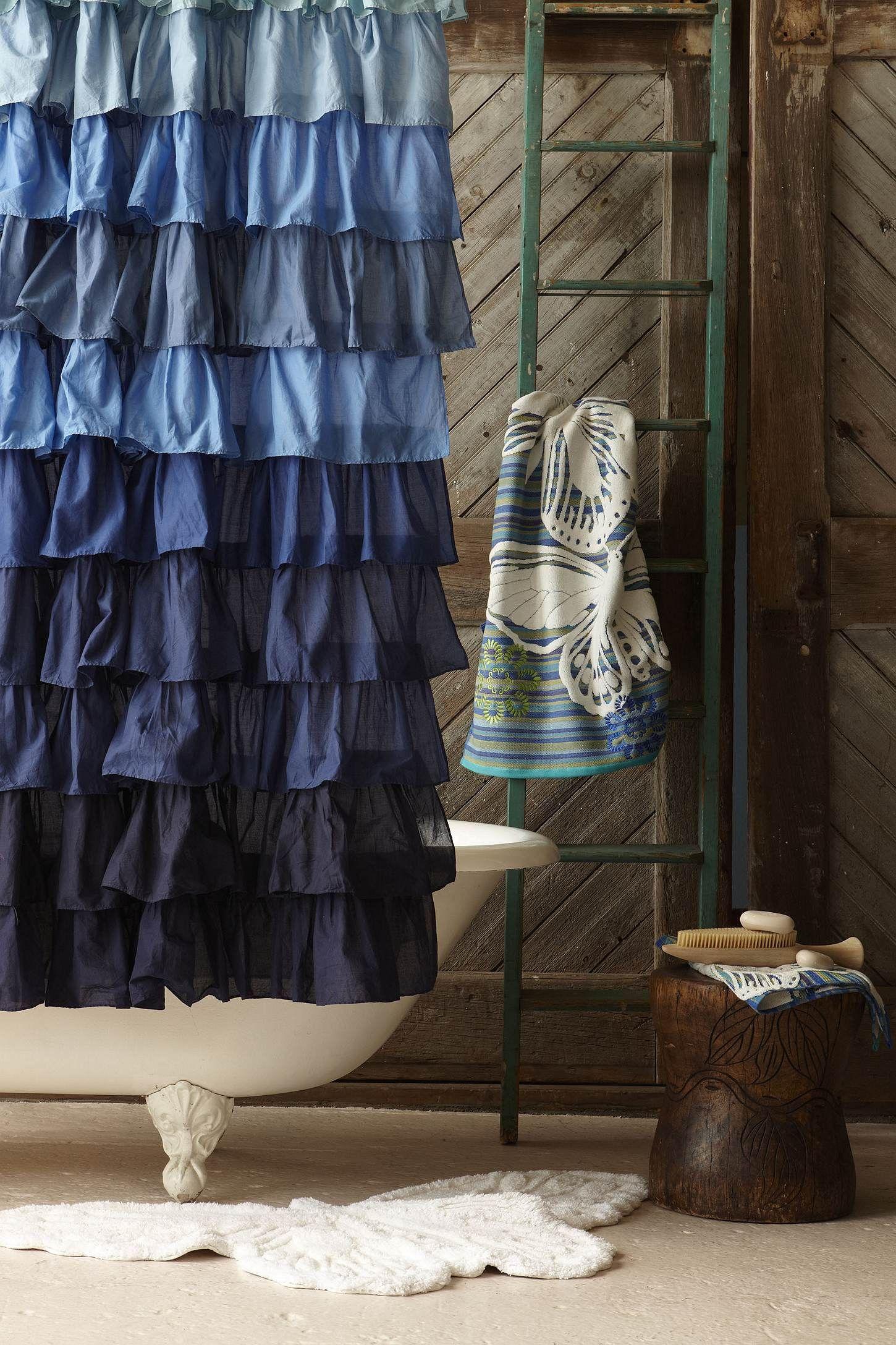 Love This Shower Curtain Ruffle Shower Curtains Guest Bathroom