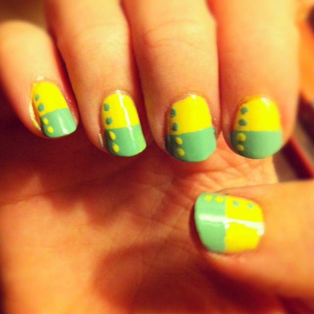 aqua & yellow #nails nails