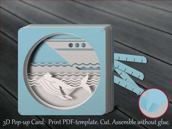 Tunnel card, 3D pop-up card, papercut template, DIY, whale, dream - printable greeting card templates