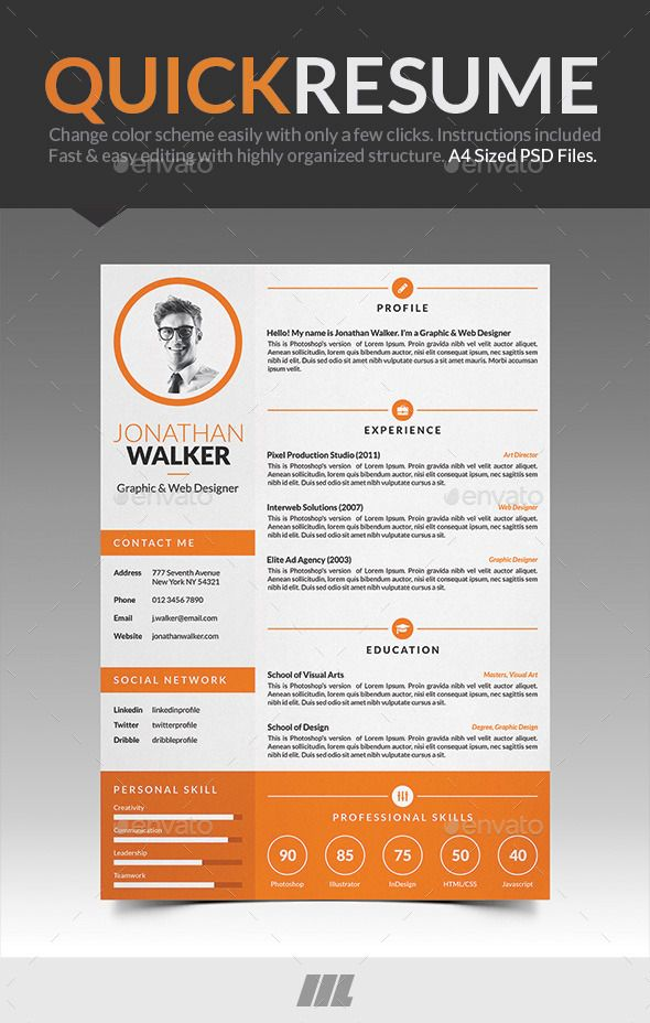 Quick Resume CV Resume cv, Creative resume templates and Font logo - quick resume