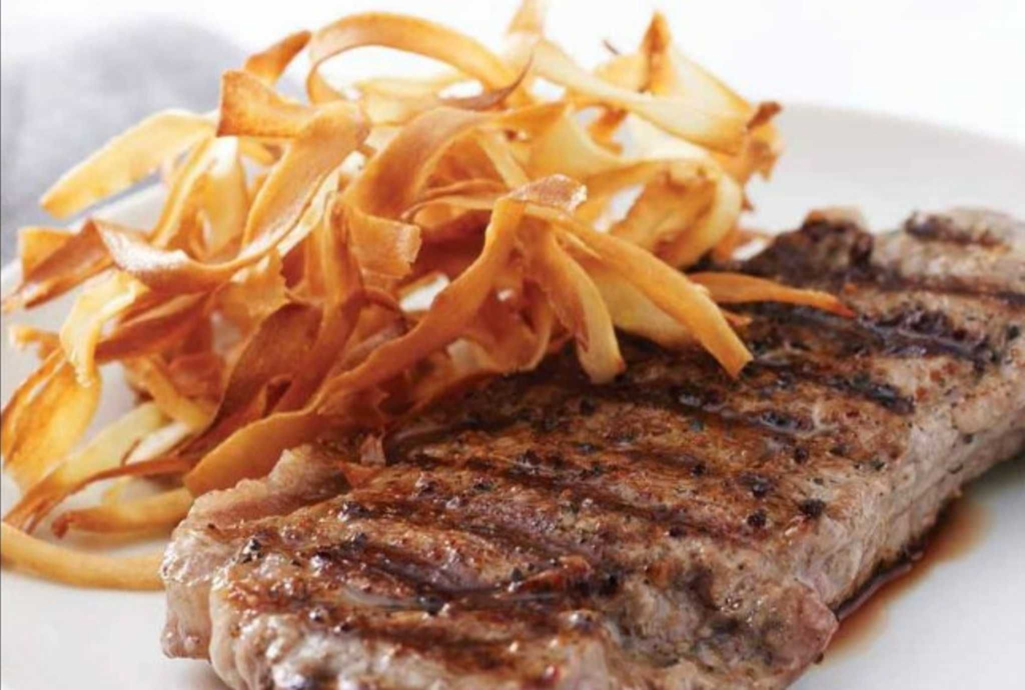 Grilled Ribeye with Crispy Parsnips.