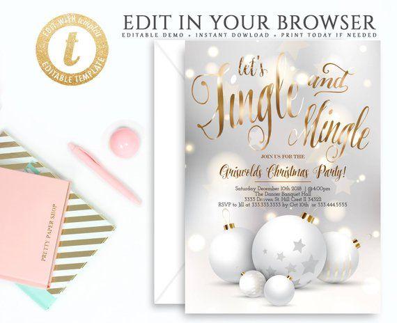 Jingle Christmas Party Invitation Template, Holiday Winter Christmas