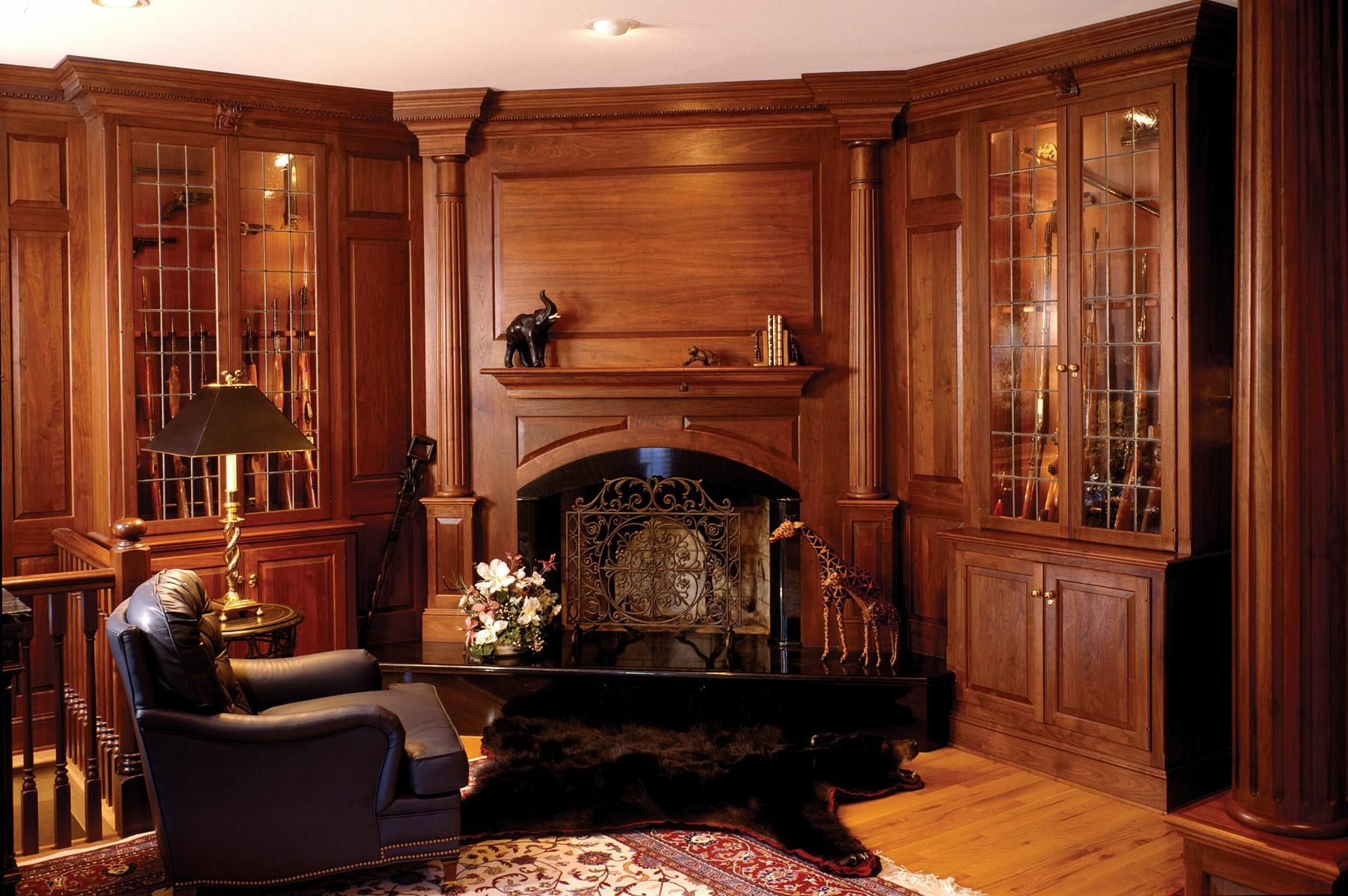 Best Custom Made Walnut Library With Fireplace And Gun Cabinets 400 x 300