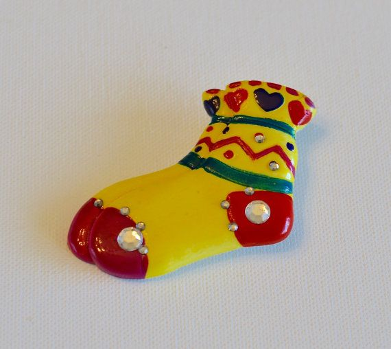 Vintage Hand Painted Brooch / Pin  Adorable Socks by mytimevintage