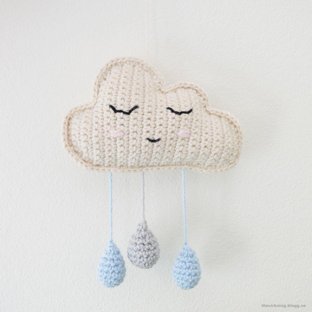 DIY Crochet Rain Cloud Mobile - FREE Pattern / Tutorial | things ...