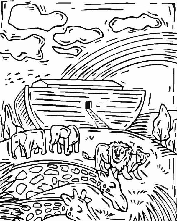 Nice An Artistic Noahs Ark Illustration Coloring Page