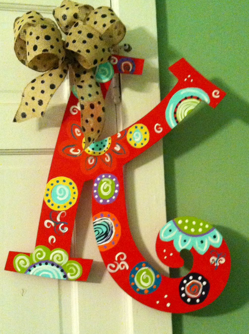 Hand Painted Wooden Door Hanger With A Pop Of Personality Painting Wooden Letters Initial