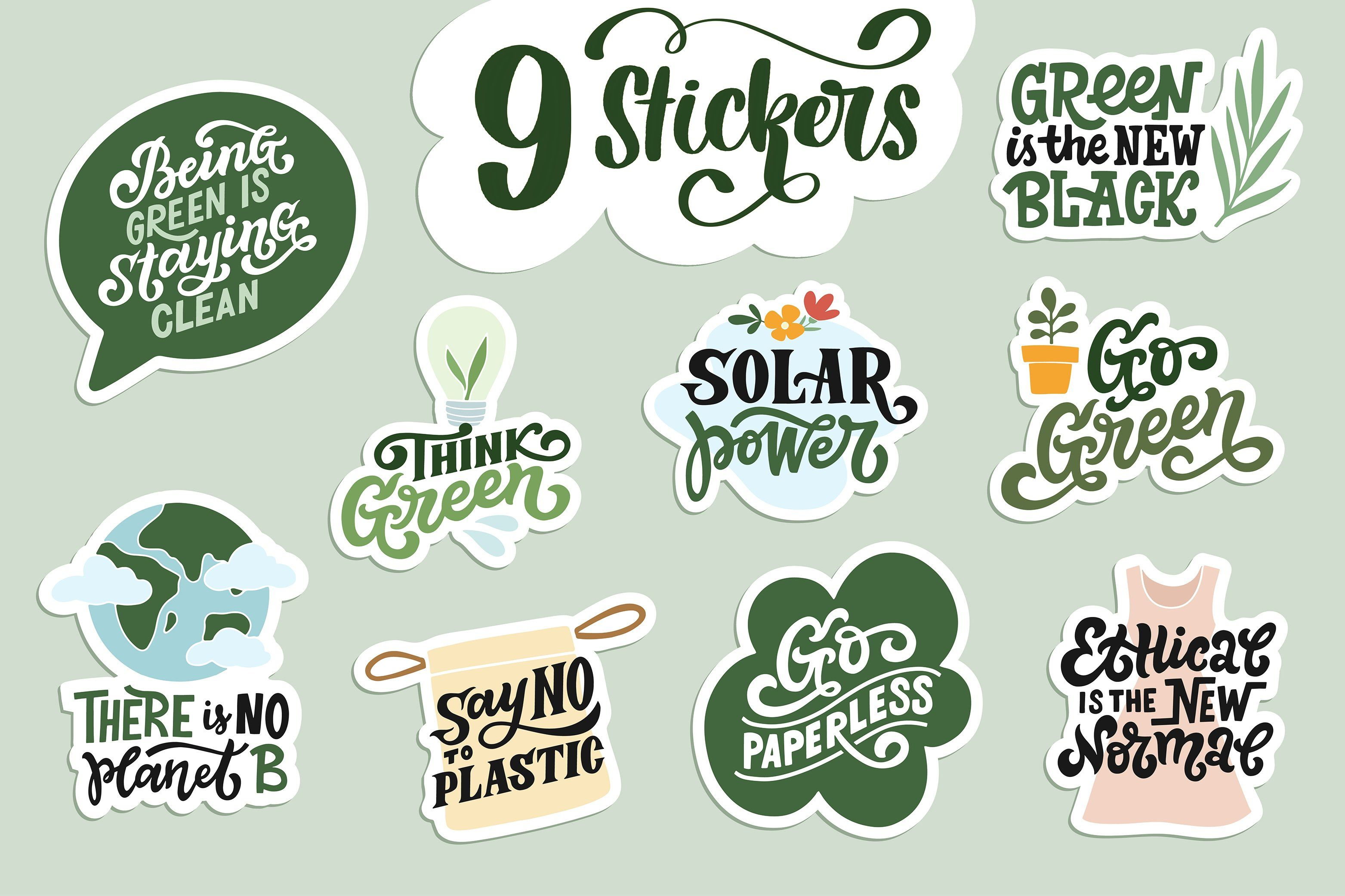Eco Friendly Graphics Set With Images Lettering Ecofriendly
