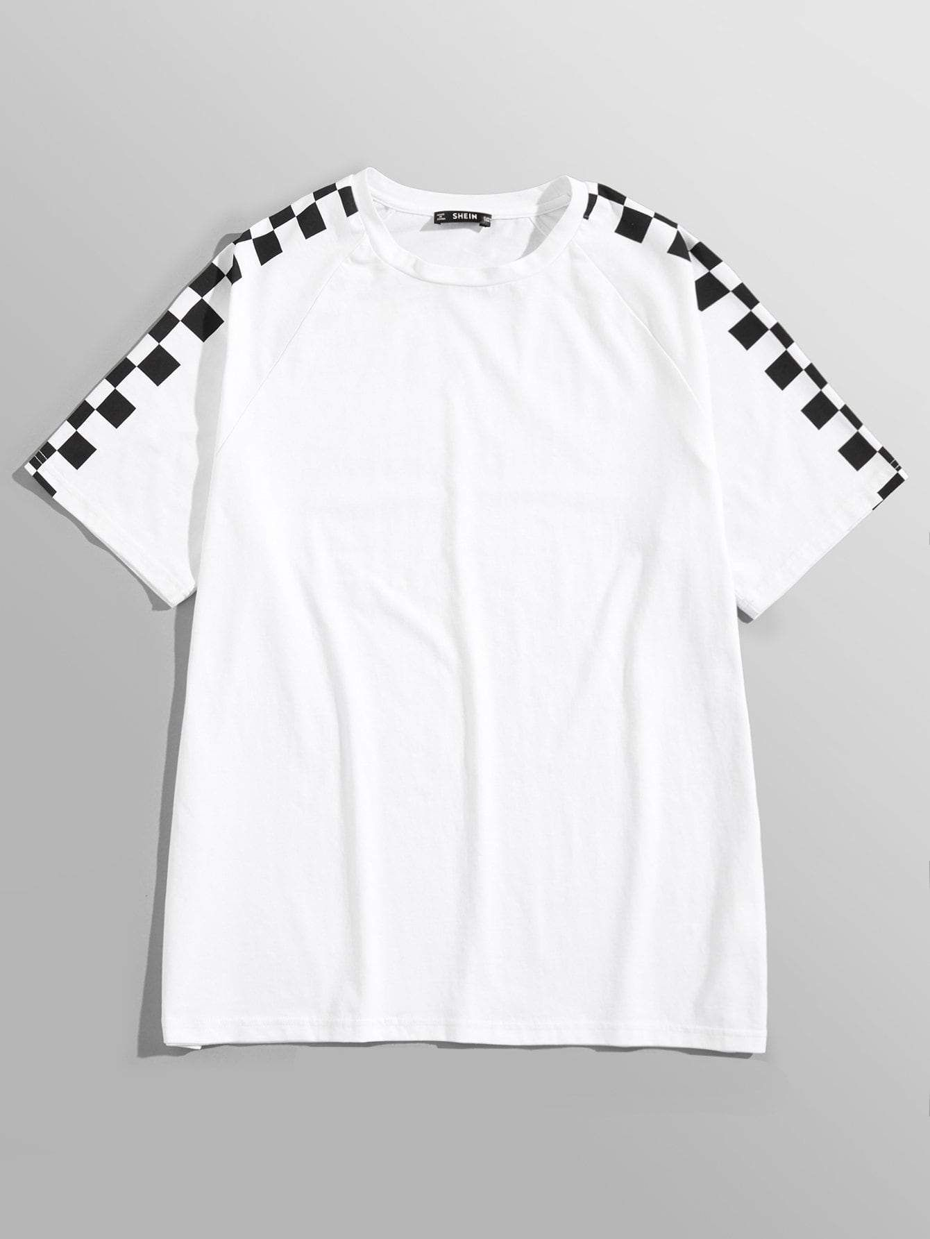 4c025a2ff Men Checked Sleeve Tee in 2019 | Products | Sleeves, Tank shirt, Shirts