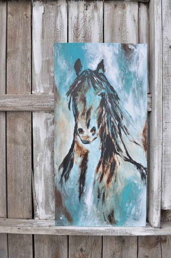 Large Abstract Contemporary Black Horse Art in turquoise and brown ...