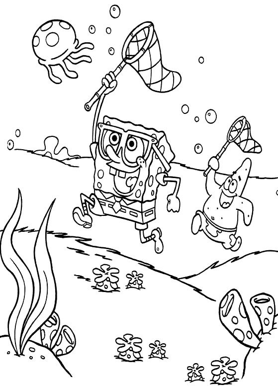 Spongebob Catch Jellyfish Coloring Page - Spongebob cartoon coloring ...