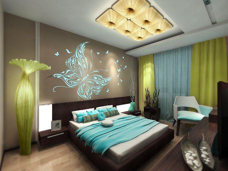 30 idées de déco chambre à coucher pour un look moderne Bedrooms - deco chambre turquoise gris