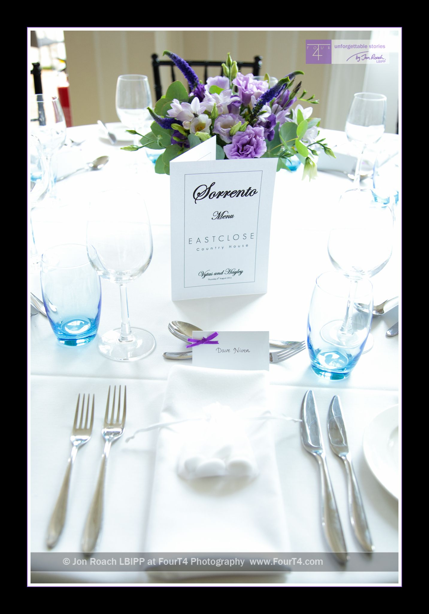 Table settings in a purple theme with tables named after Italian ...