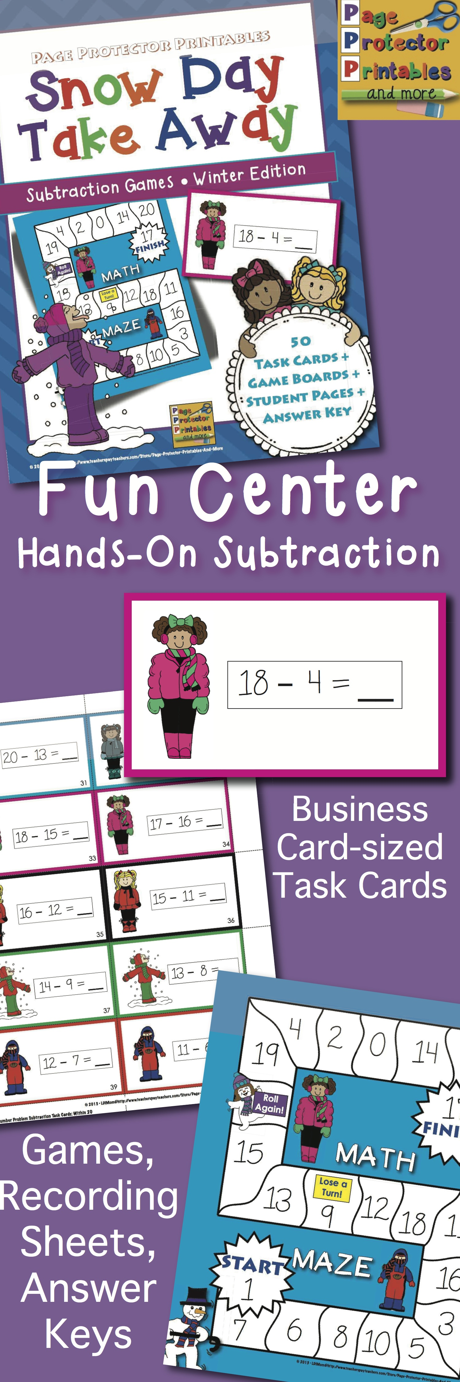 Snow Themed Subtraction Center Differentiated Game Boards