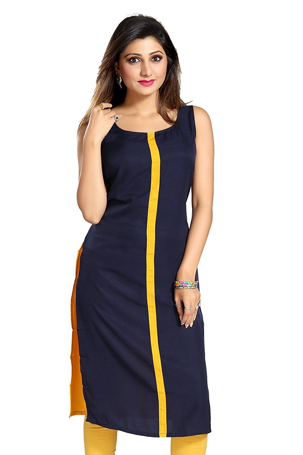 693b1902a5013 ALC Creations Women s Faux Crepe A-Line Kurti  Amazon.in  Clothing    Accessories