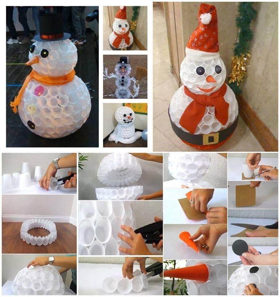 Lavoretti Con Bicchieri Di Plastica Per Natale.Pupazzo Di Neve Con Bicchieri Di Plastica Fatti