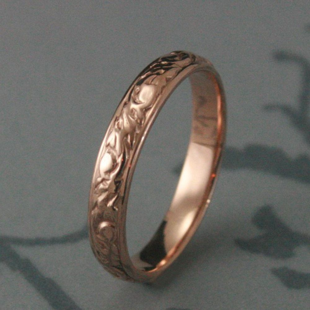 Swirl pattern white gold wedding ring for brides fashion fill - Rose Gold Wedding Ring Solid Rose Gold Going Barouque Wedding Red Gold Swirl And Leaf Design Ring Custom Made To Your Size