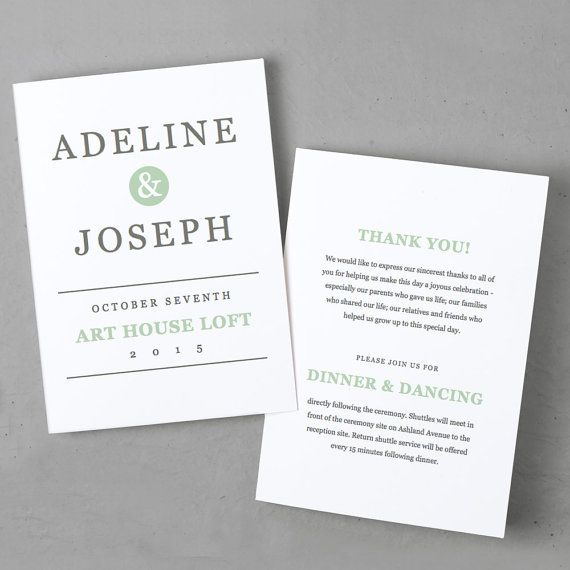 Printable Wedding Program Template INSTANT DOWNLOAD Mint Type - Pages wedding program template