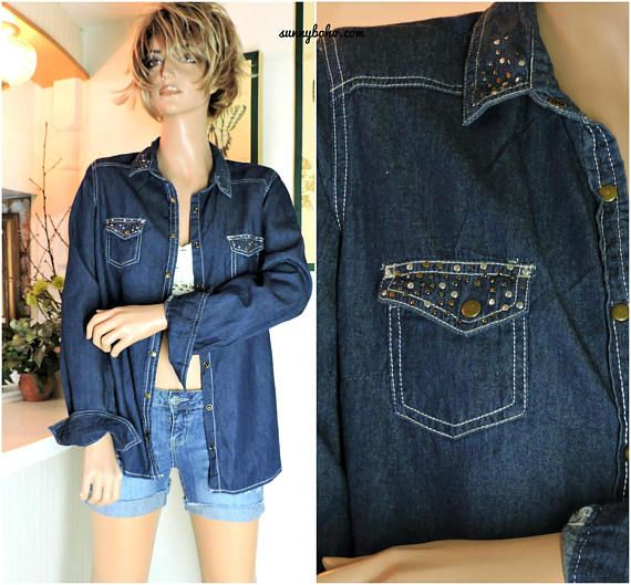 90s denim snap front shirt / size M / long sleeve denim shirt