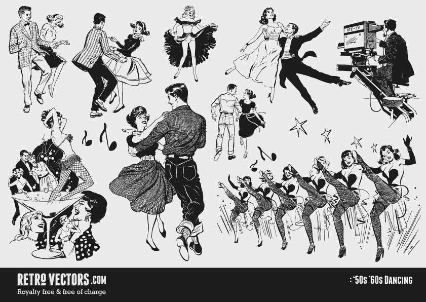 '50s Dancing Vintage Vectors Royalty Free Free of