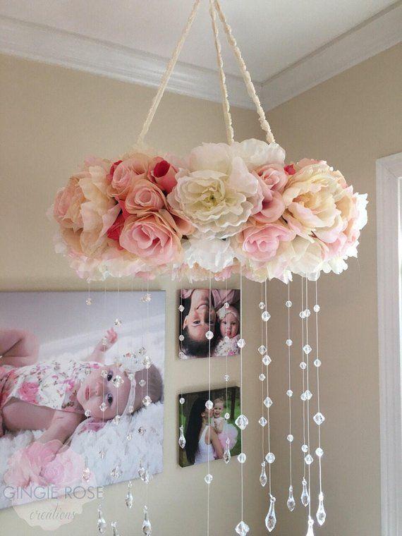 Floral Mobile/Kindergarten Mobile/Vintage Rose Kranz/Krippe Mobile/Blume Baby Mobile/Mädchen Mobile/Pink Mobile/Rose Mobile