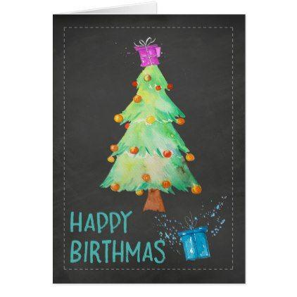 Happy Birthmas Birthday On Christmas Birthday Card Zazzle Com Christmas Birthday Cards Birthday Cards Diy Birthday Cards