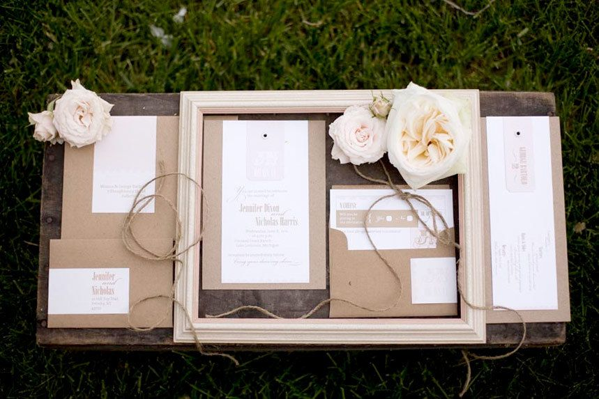Rustic Elegance - unique handcrafted wedding invitation with eyelet detail. $7.00, via Etsy.