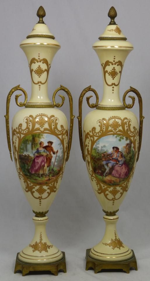 Large Decorative Vases And Urns Mesmerizing Pair ~ Large ~ Antique~ French Porcelain Urns ~ Clad With Dore Design Decoration