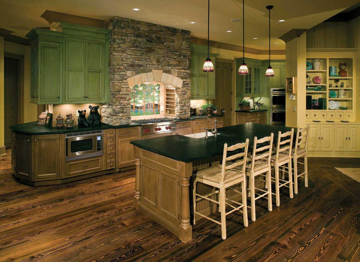 Modern Rustic Farmhouse Kitchen Not The Pendant Lights But The Colors Are Good If You Use Green