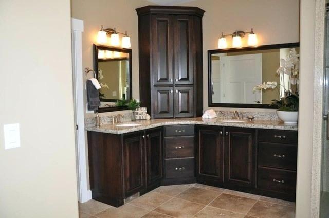 Traditional Bathroom Double Sink Corner Vanity Salt Lake City