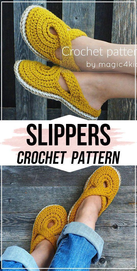 crochet Women Twisted Strap Slippers kostenlose Anleitung - Crochet Slippers Anleitung  #pattern