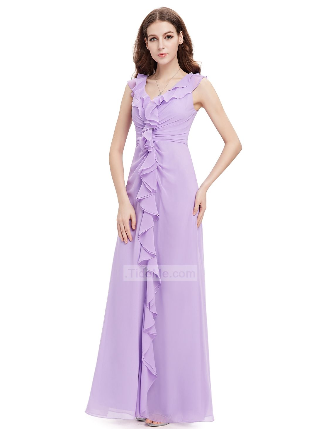 Lilac Chiffon Frills Sheath Floor Length Elegant Long Prom Dress ...