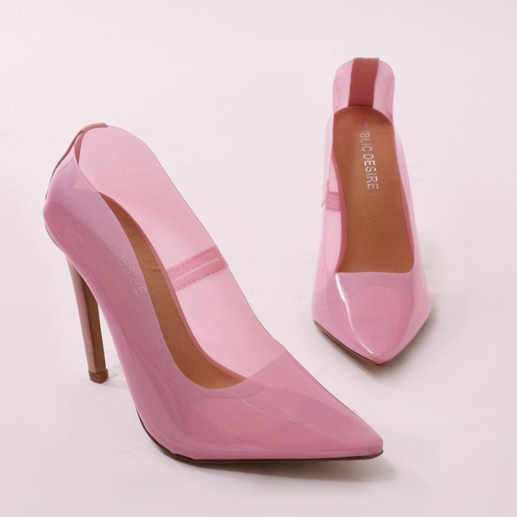 Extra Perspex Court Heels in Pink