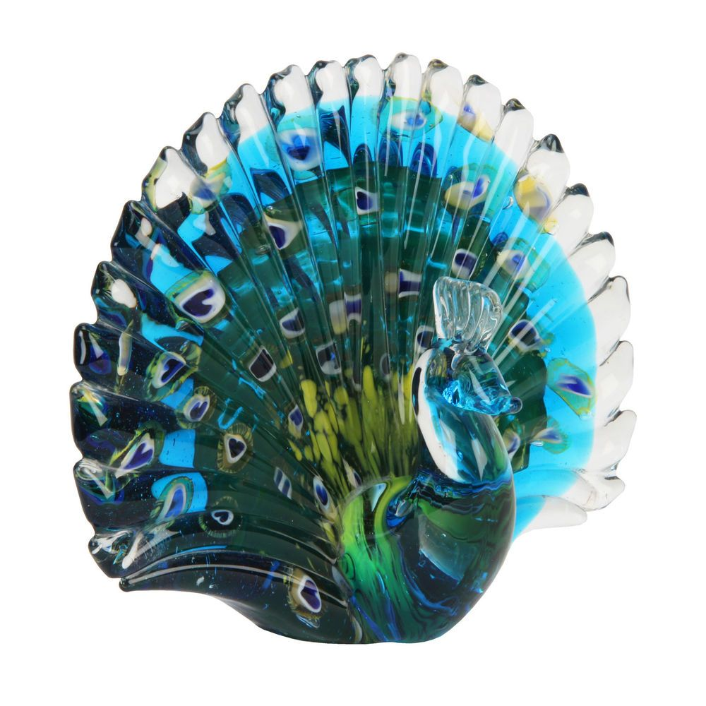 Glass animal ornaments - Large Glass Animal Paperweights Figurine Collectable Gift Ornament Peacock Gifts