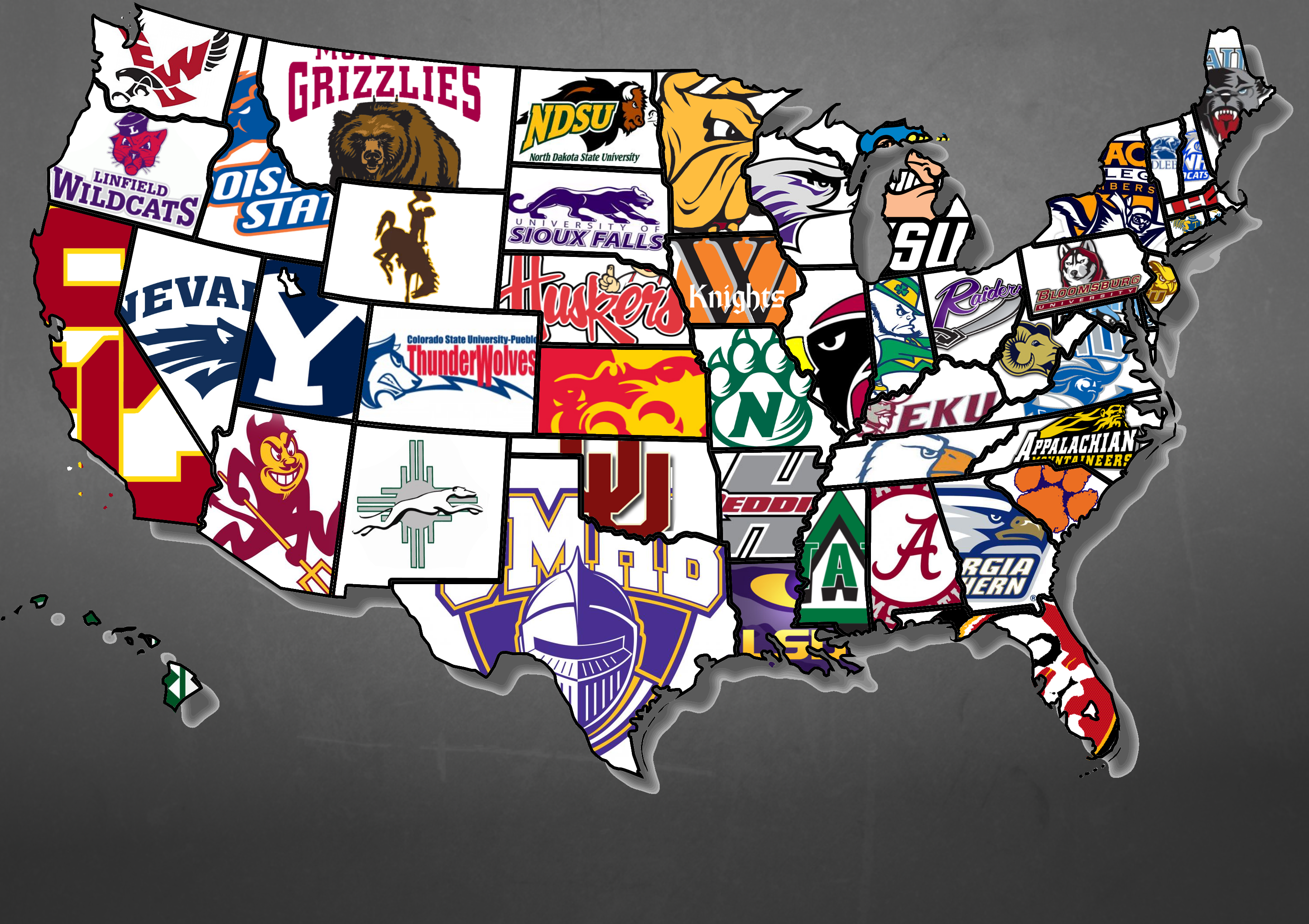 The Best College Football Team In Each US State MAPS Pinterest - Us college football map