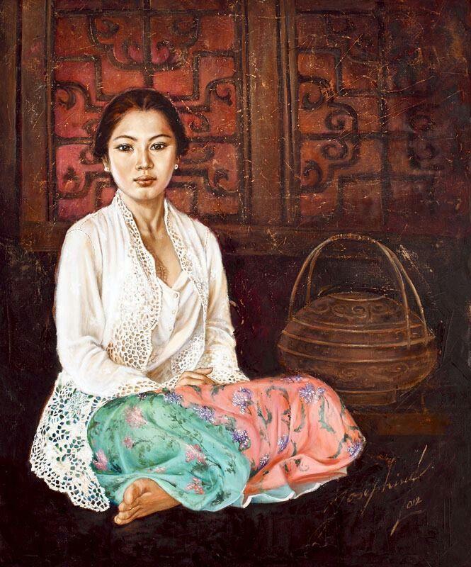 A Peranakan Lady..painting by Indonesian Artist Josephine Liggar.    Lukisan, Galeri, Painting