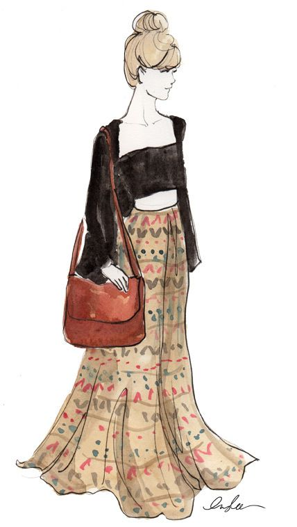 bohemian fashion sketches - Google Search