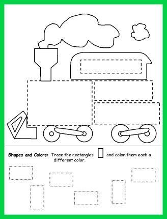 trace and color shapes train worksheet for kids - Coloring Worksheet For Kindergarten