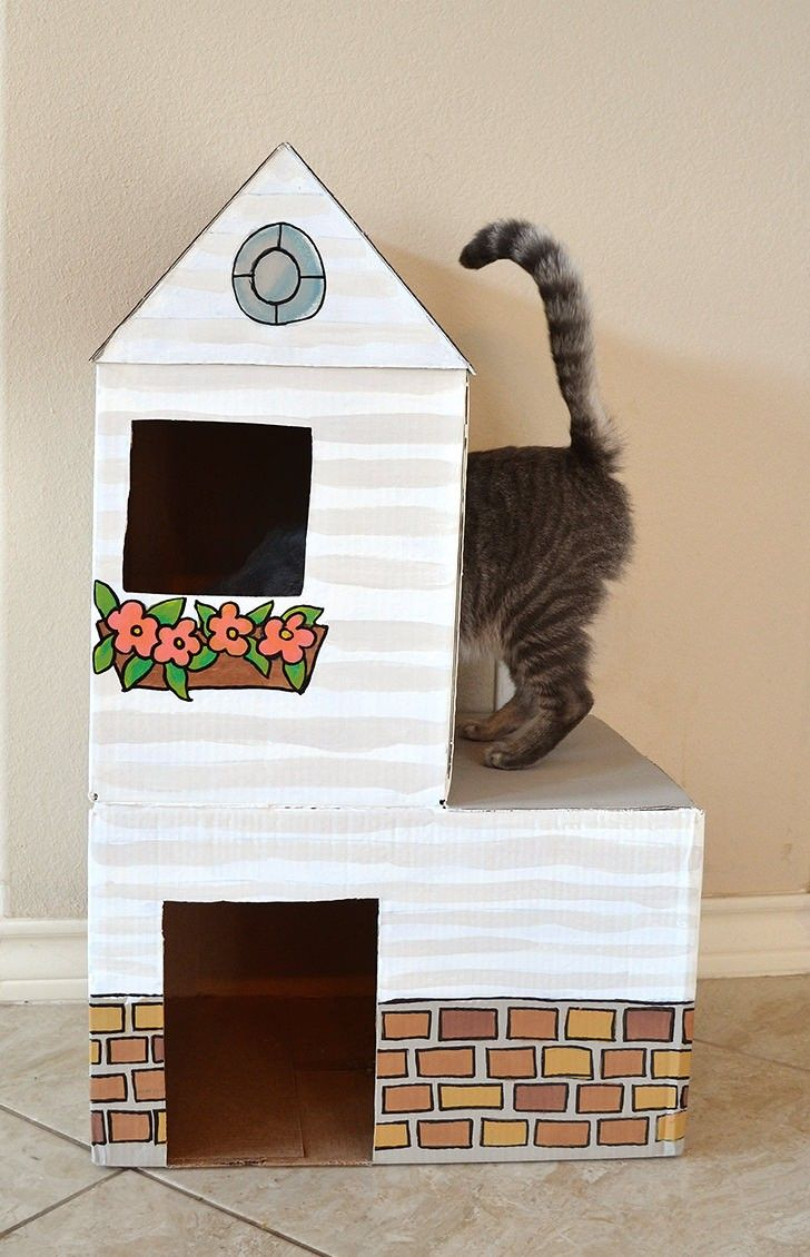 Cardboard Cat Mansion Or A Use For Amazon Prime Boxes Cardboard Cat House Diy Cat Toys Diy Cat Tower