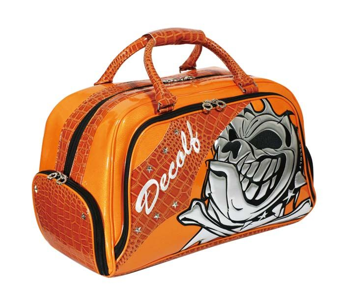 This is a boston bag of the Skull dog  and a color is orange    Golf     Boston Bag of Skull dog series  DECOLF s golf shop