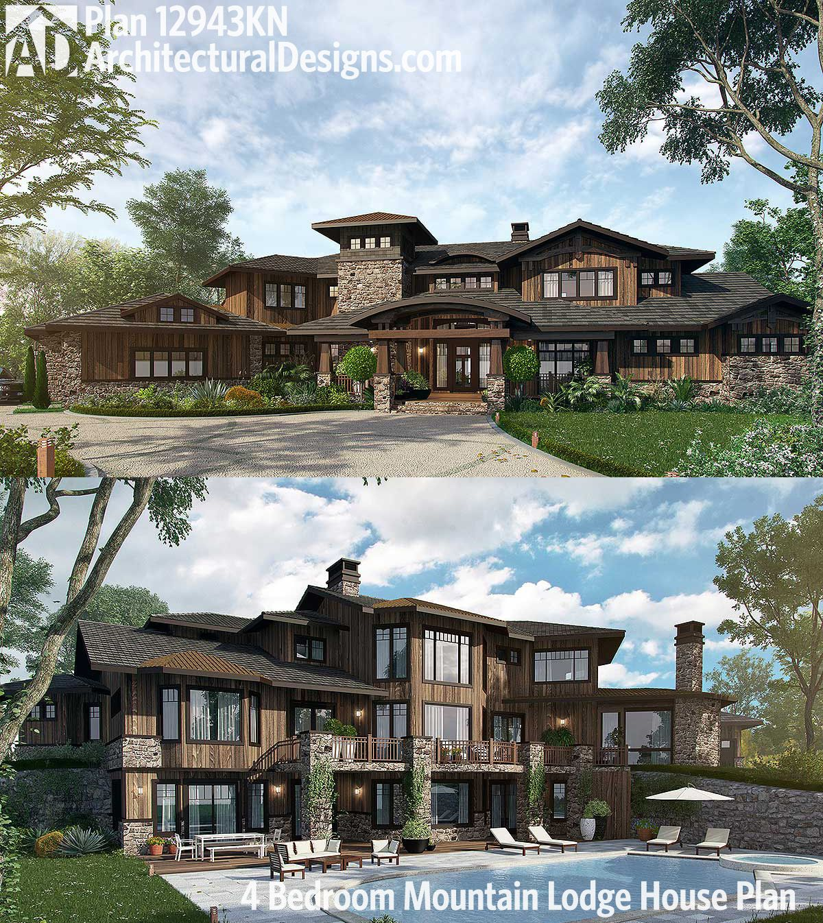 Plan 12943kn 4 bedroom mountain lodge house plan house for Mountain lodge floor plans
