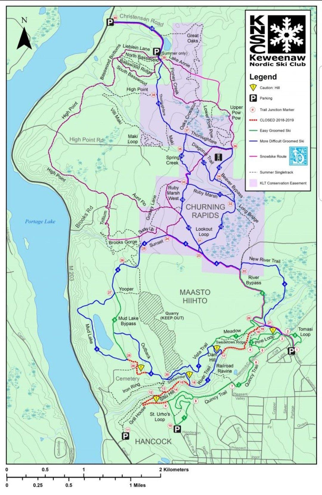 Maasto Hiihto and Churning Rapids map crosscountryski