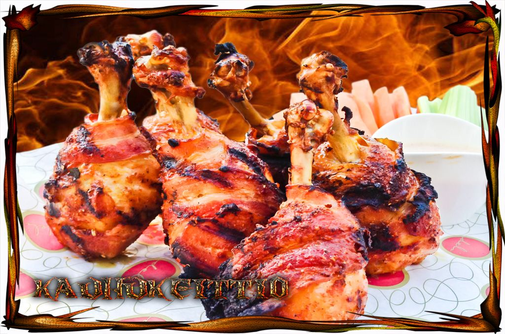 Bacon wrapped chicken drumsticks
