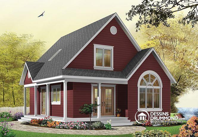 W3507 - Plan de Cottage abordable, 2 à 3 chambres, à aire ouverte