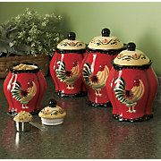4 Piece Rooster Canister Set